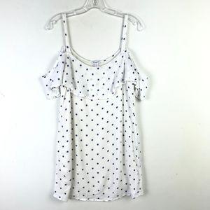 Splendid Cold Shoulder Mini Polka Dot Dress #347
